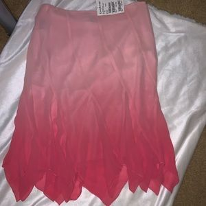 bebe | asymmetrical pink pleated skirt